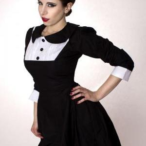 Gothic Lolita Black Aline Cotton Dr..