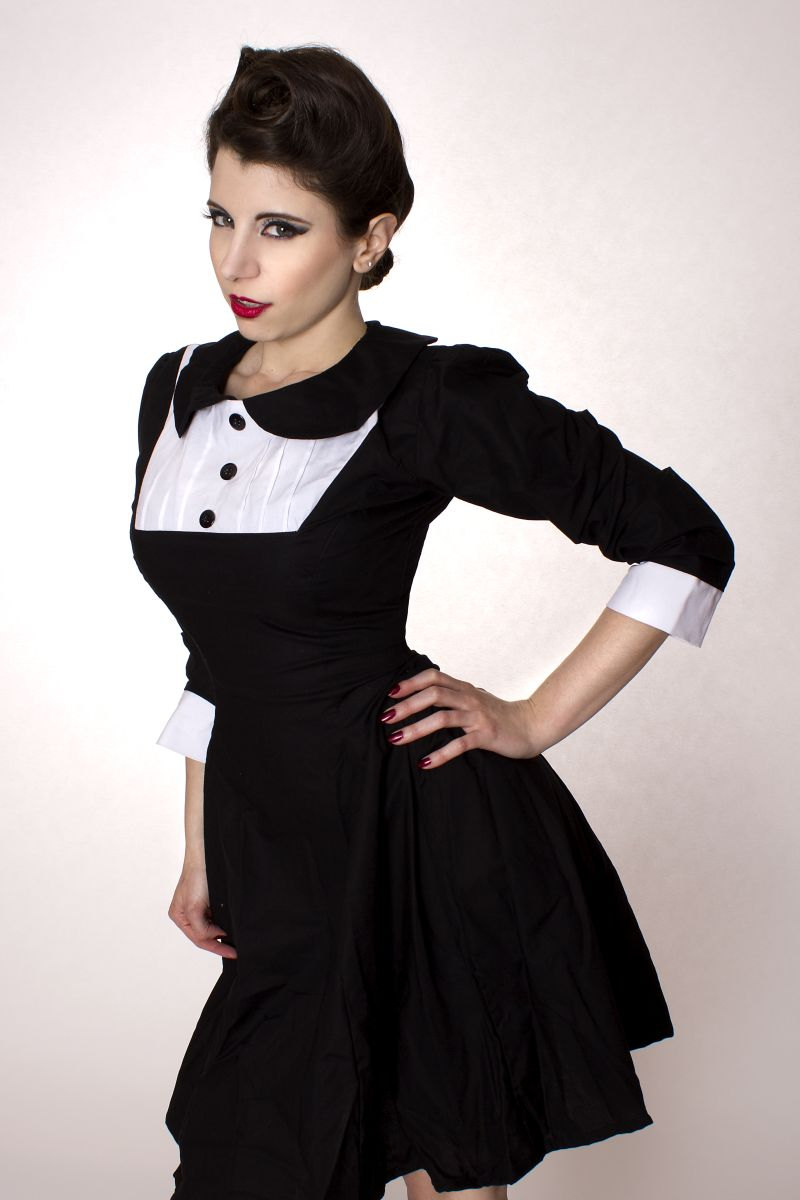 Gothic Lolita Black Aline Cotton Dress With Peter Pan Collar Long ...