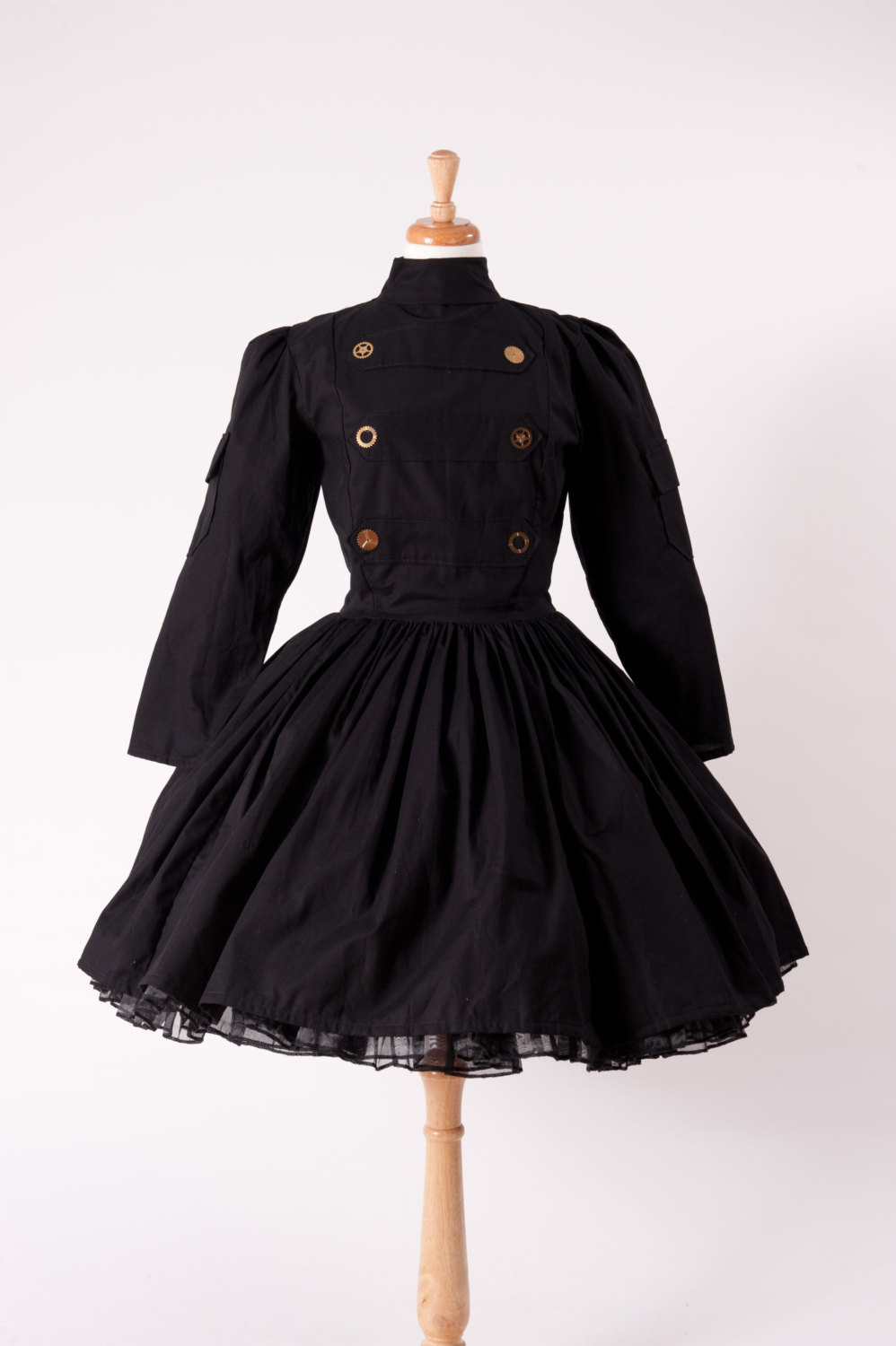 Steampunk Dress Military Lolita Gothic Dress Black Cotton Dress with Gears Custom Made to Measure Including Plus Size