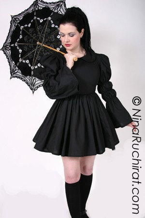 Black Gothic Lolita Dress With Peter Pan Collar Full Gathered Skirt ...