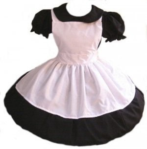 Gothic Alice in Wonderland Halloween Costume Gothic Lolita Dress and Apron Goth Loli Cosplay Custom Made to Measure Including Plus Size