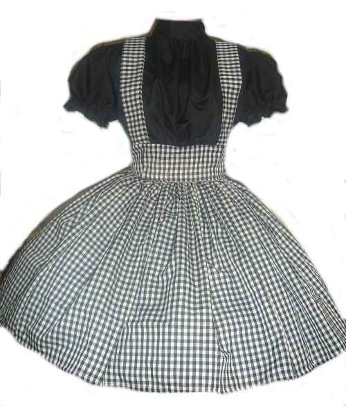 Gothic Dorothy Costume Black Gingham Dress Halloween Costume Goth