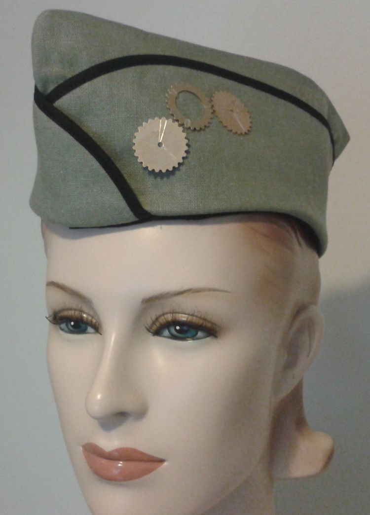 Steampunk Military Hat Steam Punk Hat with Gears Army Green Vintage Style  WWII Flight Cap Garrison f9ec3d0abf