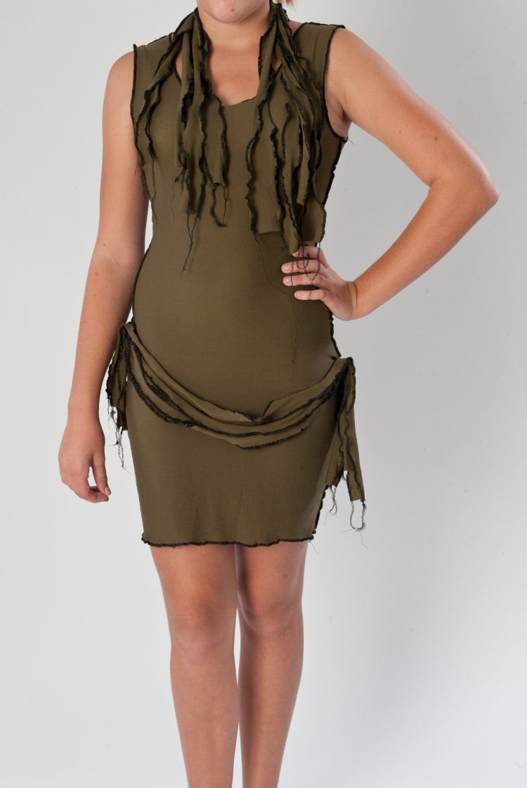 SAMPLE SALE 50% Off Sexy Zombie Costume Dress and Scarf Army Green Wiggle Dress Halloween Costume Womens Medium