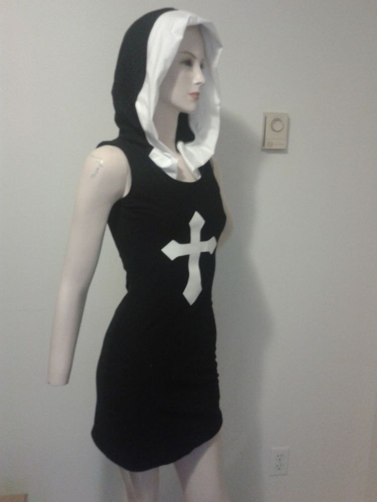 Sexy Nun Goth Hooded Dress Black Wiggle Dress Pin Up Halloween Costume Gothic Black Knit Dress Custom Size Made to Measure