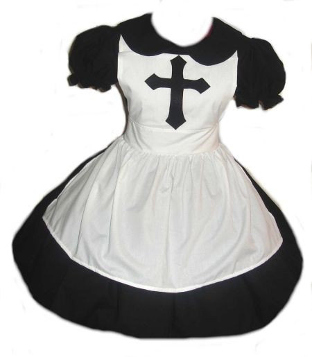 Cute Goth Nun Dress and Apron Cosplay Gothic Lolita Halloween Costume Custom Size Made to Measure Plus Size Cotton Dress Handmade