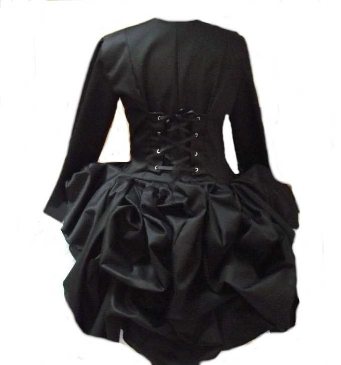 Steampunk Jacket Gothic Victorian Lolita Black Bustle Corset Jacket Custom Size Plus Size
