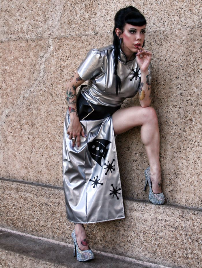 Sci-Fi Cheongsam Space Cadet Sexy Retro Rocket Sci-Fi Dress Halloween Costume Silver And Black ...
