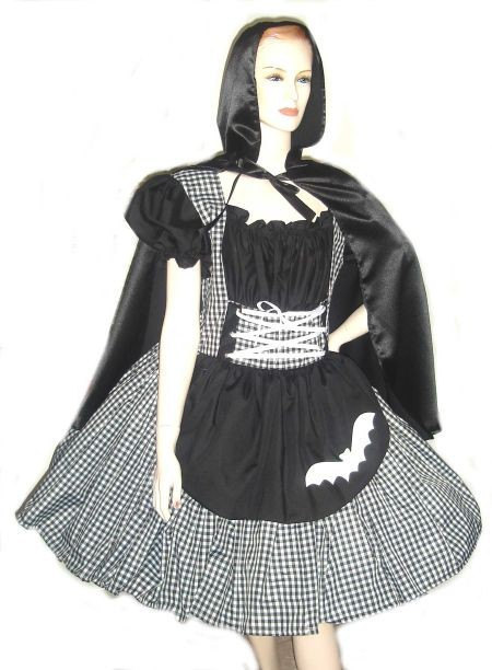 Gothic Little Red Riding Hood Halloween Costume Dress and Cape Black Gingham White Bat Applique Womens Medium