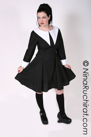 8982a7ad14e Gothic Lolita Dress Lenore Dress Aline Black with White Collar Long Sleeves  with Cuffs Custom Size