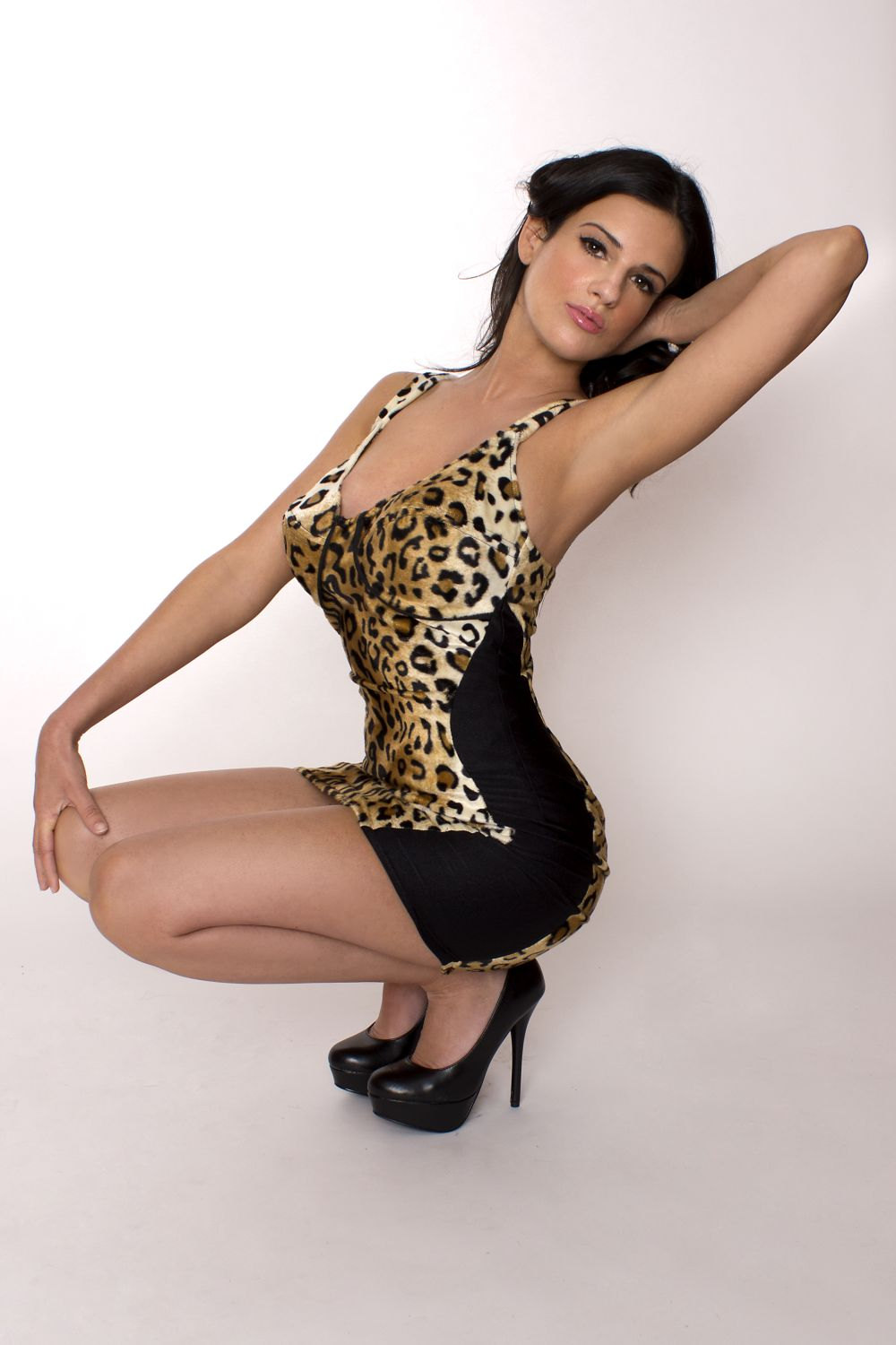 Pin up Leopard Dress Pinup Rockabilly Wiggle Minidress Sexy Leopard Print Faux Fur Custom Size  sc 1 st  Luulla : leopard print burlesque costumes  - Germanpascual.Com