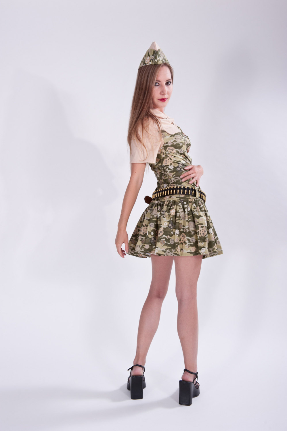 Zombie Hunter Camo Camouflage Skulls Military Mini Dress Ammo Belt and Garraison Cap Cute Sexy Halloween Costume Womens Small Medium