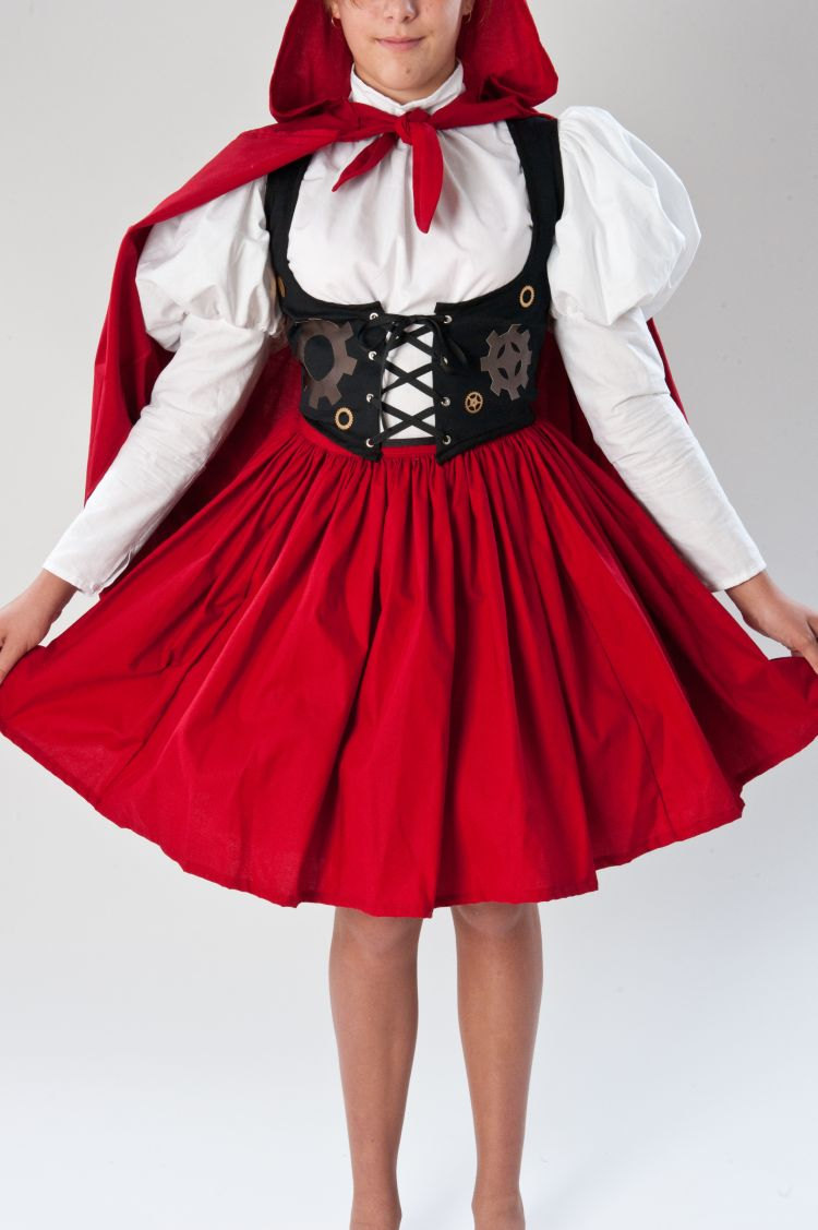 Steampunk Little Red Riding Hood Steam Punk Victorian Womens Halloween Costume Skirt Blouse Vest Hooded Cape Custom Size Plus Size
