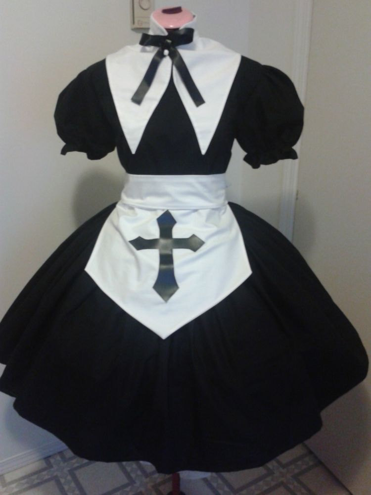 Gothic Lolita Nun Dress Apron with Cross and Collar Salem Witch Halloween Costume Custom Size Cosplay Goth Loli