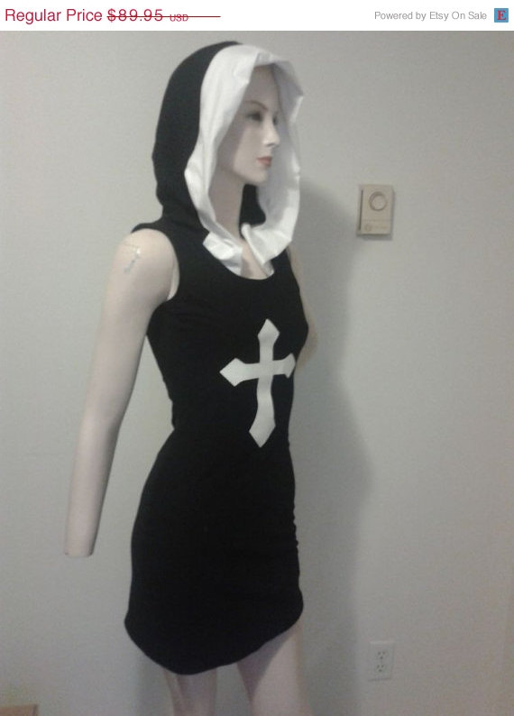 CLEARANCE 50% OFF Sexy Nun Goth Hooded Dress Black Wiggle Dress Pin Up Halloween Costume Gothic Black Knit Dress Womens Medium