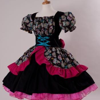 Day of the Dead Dress Cinco De Mayo Costume Sugar Skulls Halloween Costume Gothic Lolita Cosplay Cotton Dress Womens Medium Large Xlarge