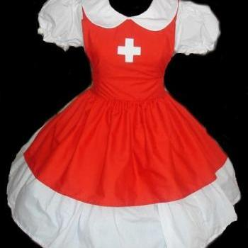 Cute Nurse Halloween Costume Dress and Apron Red and White Custom Made to Measure Including Plus Size