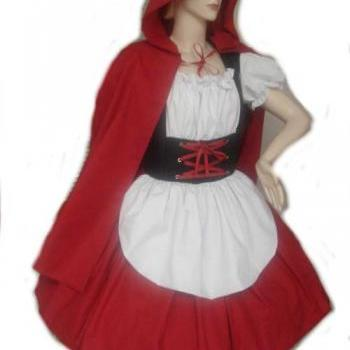 Little Red Riding Hood Halloween Costume Dress and Cape Womens Small Medium Large Xlarge 2X Cotton Costume Fairytale Storybook Dress Cape