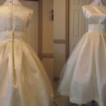 Wedding Gown Audrey Hepburn Retro Dress and Sash Tea Length Satin and Tulle Custom Made Plus Size