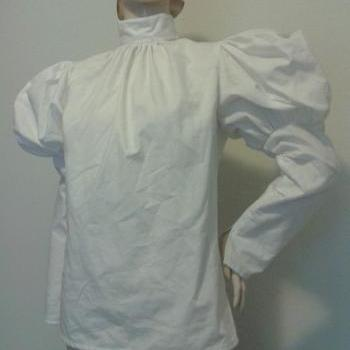 Victorian Blouse Steampunk Edwardian Shirt Top Leg of Mutton Sleeve White Custom Size Plus Size