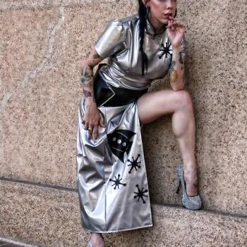 Sci-Fi Cheongsam Space Cadet Sexy Retro Rocket Sci-Fi Dress Halloween Costume Silver and Black Custom Size