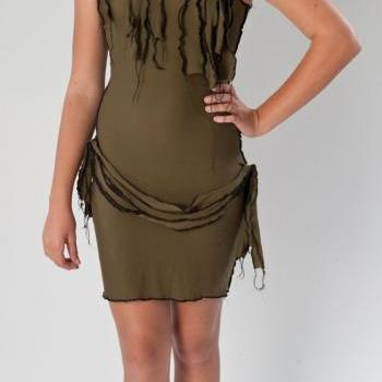 Sexy Zombie Costume Dress and Scarf Army Green Wiggle Dress Pin Up Halloween Costume