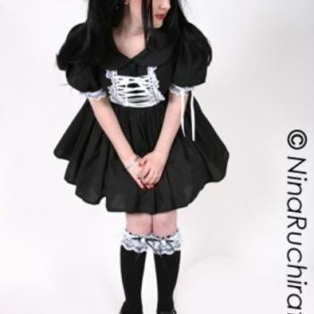 Gothic Lolita Dress Goth Loli Dress Cosplay Black Cotton with White Lace Custom Size Plus Size Made to Measure