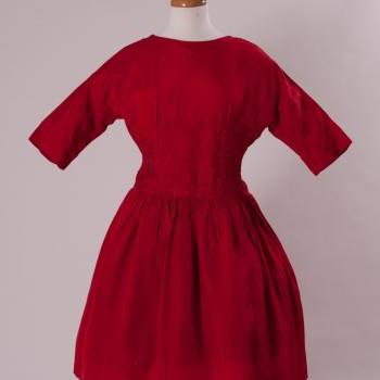Vintage 50's Red Taffeta Dress Retro Pinup Pin up Rockabilly Simpson Sears Kerry Teen Label