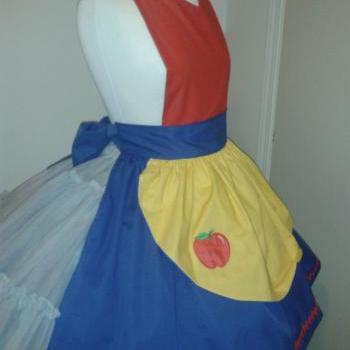 Snow White Apron Pin up Pinup Apron Yellow Blue Red with Apple Applique Womens Medium