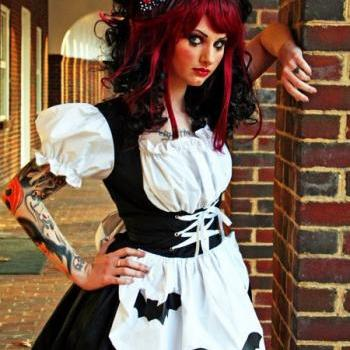 Gothic Dress Black and White with Bats Rag Doll Lolita Dress Custom Size including Plus Size Made to Measure