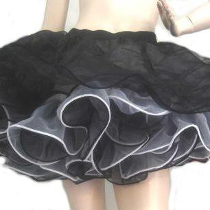 Pinup Pin Up Goth Gothic Womens Tutu Cupcake Skirt Petticoat Black White Organza Custom Size including Plus Sizes